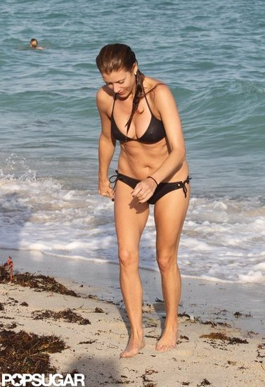 Kate Walsh took a swim with a friend.