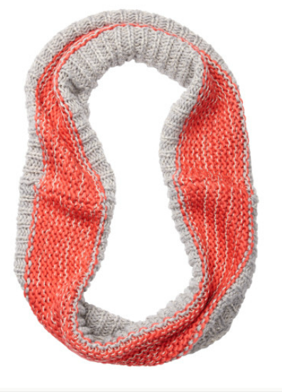We adore the fresh pop of coral on this Loft Colorblock Infinity Loop Scarf ($40).