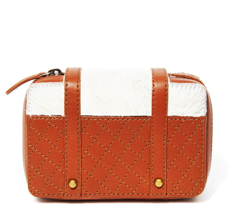 The quilted detailing and calf hair detail on this Gaucho jetsetter pouch ($150) is perfect for your jet-setting friend.