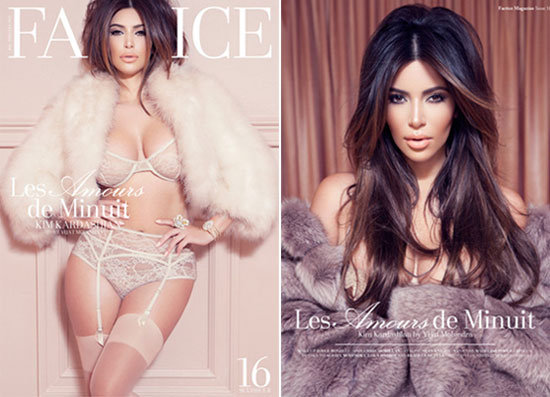 Kim Kardashian Strips Off to Fur and Lingerie for French Mag