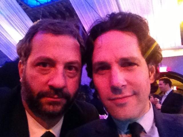 "Then he ran into his ""doppelgänger,"" Paul Rudd. Source: Twitter user JuddApatow"