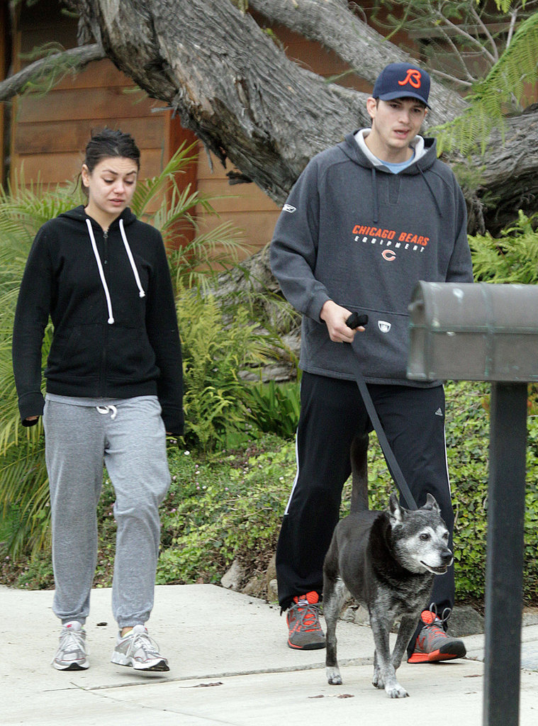 Mila Kunis and Ashton Kutcher Double Up For a Dog Walk