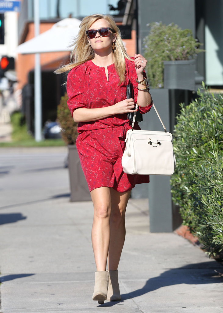 Reese Witherspoon paired her dress with booties.