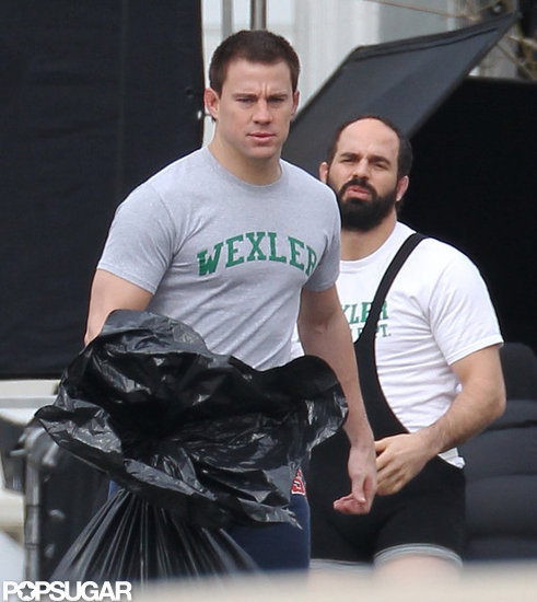 Channing Tatum Flexes His Muscles on Set Following a Boys' Weekend