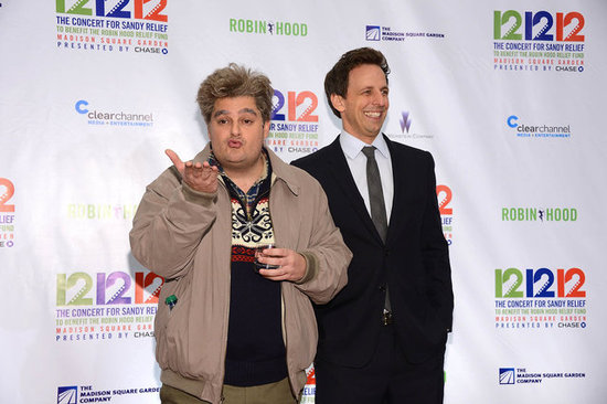 Seth Meyers and Bobby Moynihan in character.
