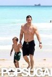 Mark Wahlberg showed off his major muscles while spending time with family in Miami this May.
