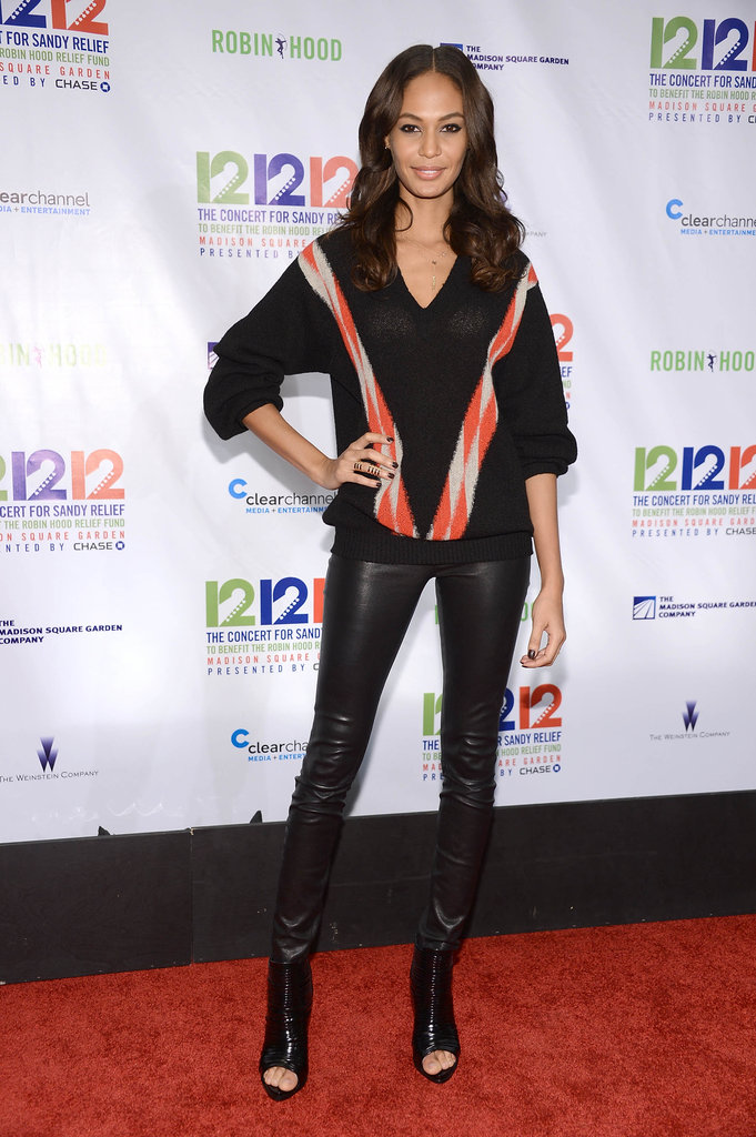 Joan Smalls was casual-cool in leather pants, a striped oversize sweater, and open-toe booties.