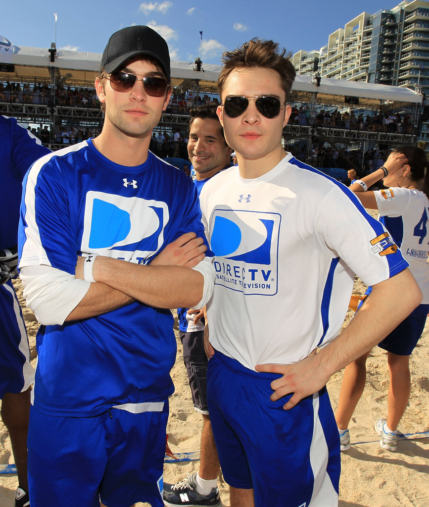Chace Crawford and Ed Westwick traveled to Miami for DirecTV's February 2009 Celebrity Beach Bowl.