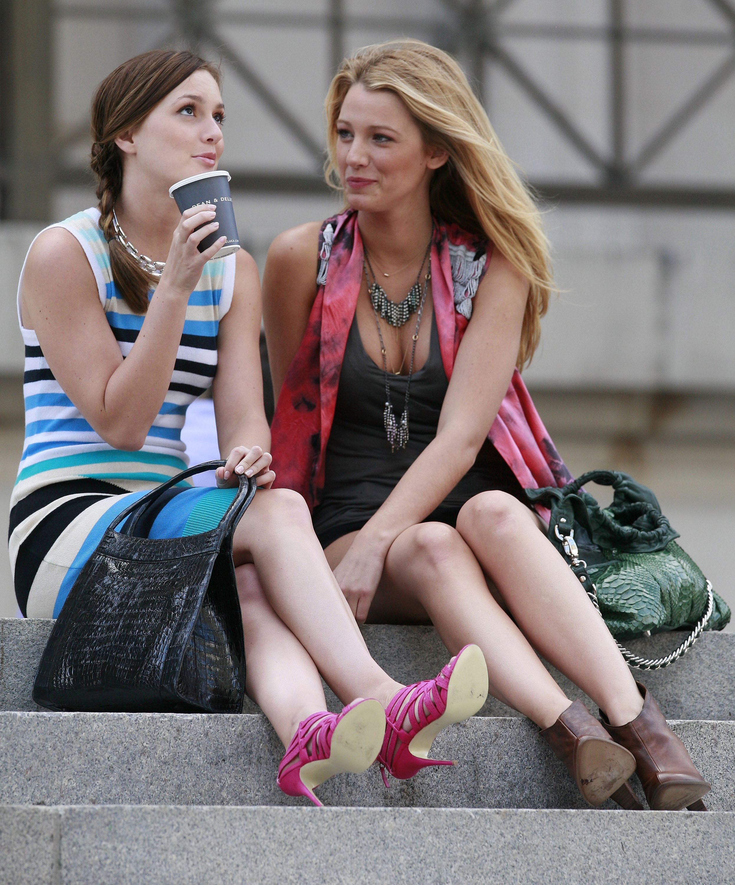 Leighton Meester and Blake Lively, also known as B and S, chatted during a scene in July 2009.