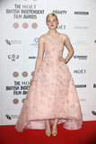 Elle Fanning was looking gorgeous in a blush-pink dress on December 9, when she attended the British Independent Film Awards in London.