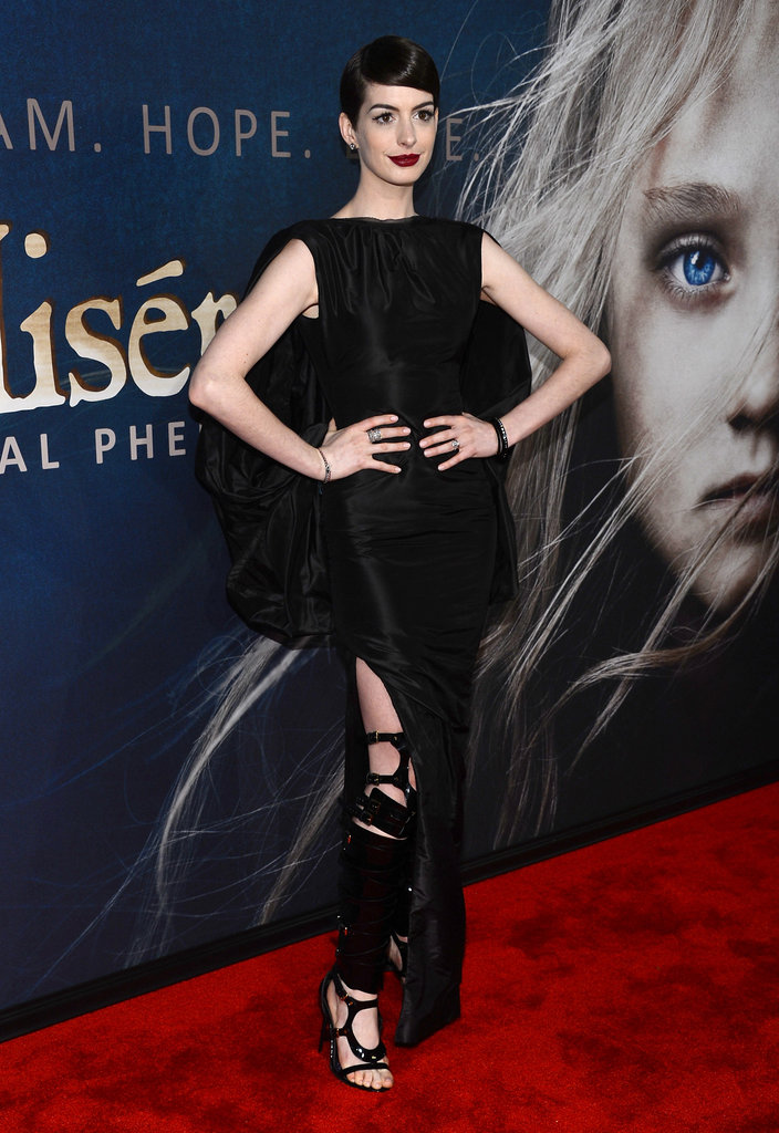 Anne Hathaway let out her dark and sexy side when she attended the New York premiere of her new film, Les Misérables, on December 10.