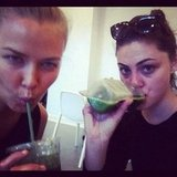Lara Bingle and Phoebe Tonkin sipped on healthy juices. Source: Instagram user phoebejtonkin