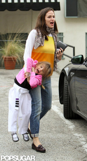 Jennifer Picks a Smiling Seraphina Up From Karate