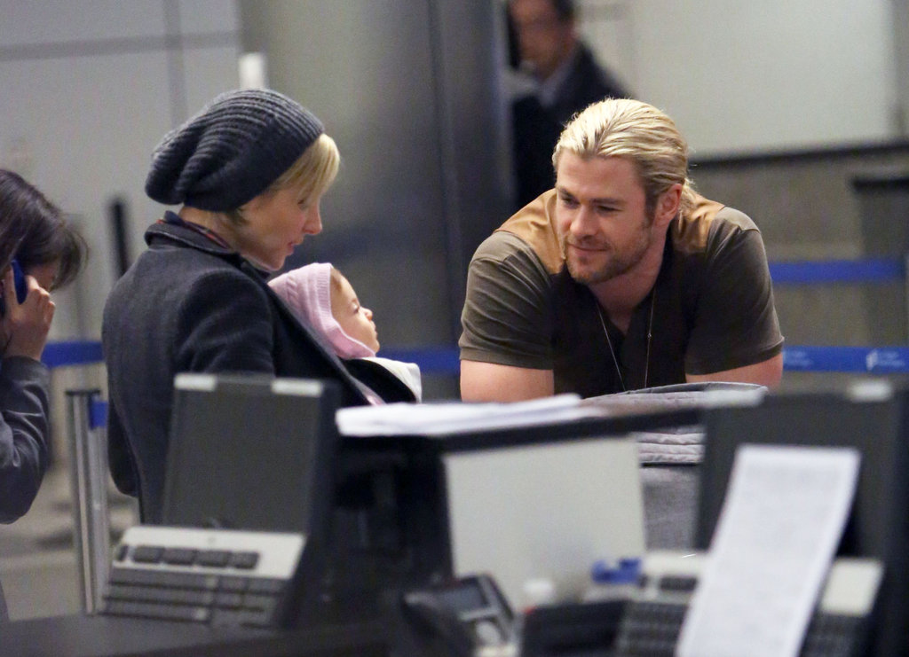 Chris Hemsworth Flies High With Elsa and Baby India For Christmas