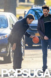 Justin Timberlake played around with a minibasketball.
