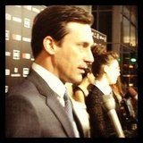 Jon Hamm gave us a sexy profile shot at Mad Men's premiere party.