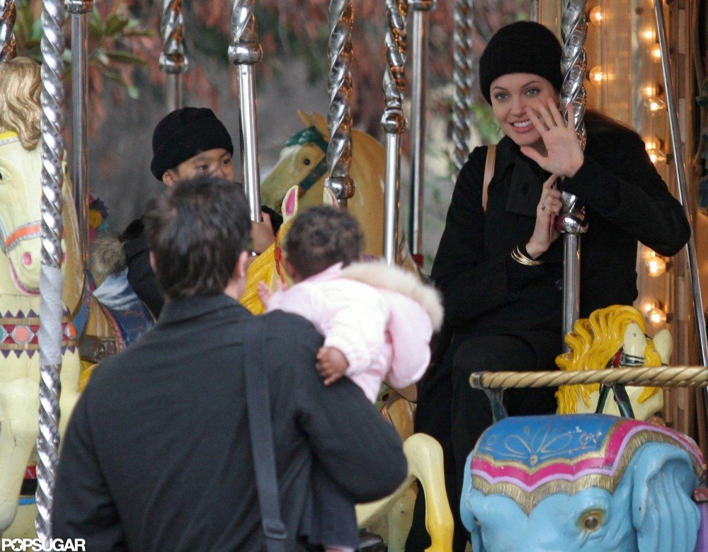 Angelina Jolie and Maddox explored Paris together in February 2005.