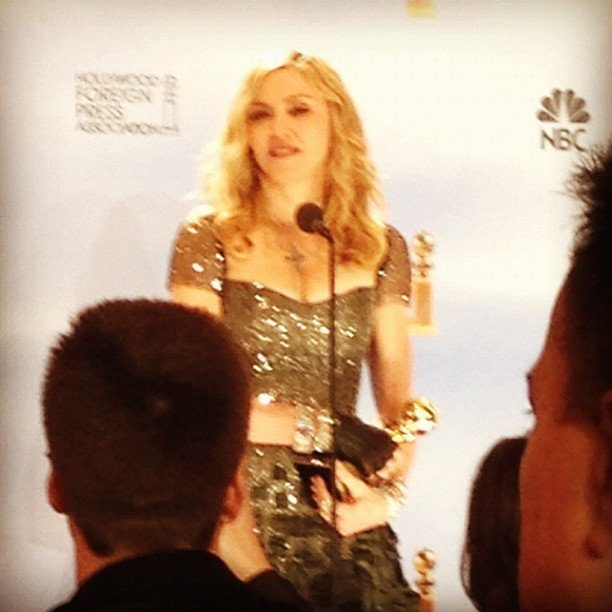 We were on hand to hear Madonna's backstage speech at the Golden Globes.