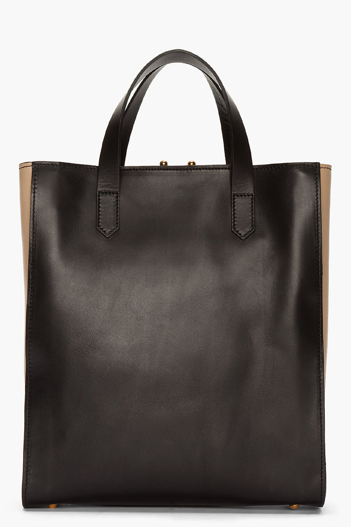 If you're looking for a structured bag, consider this Marni leather shopper tote ($788, originally $1,125). The black and tan colors will go with everything in your closet.