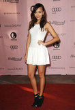 Ashley Madekwe countered the flirty vibe of her LWD with weightier open-toe booties.
