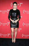 Sophia Bush turned it out in a long-sleeved leather Paule Ka dress that was belted at the waist. She accessorized with nude pumps, drop earrings, and an Edie Parker clutch.