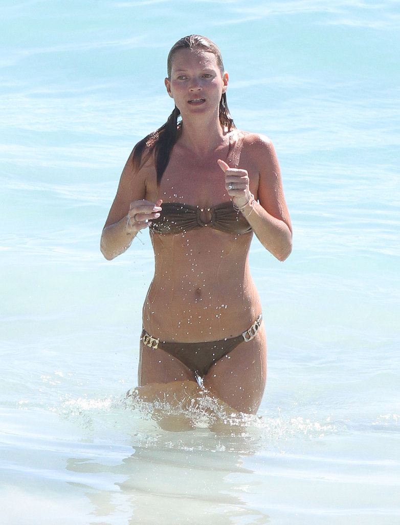 Kate Moss splashed around in the waves in St. Barts.