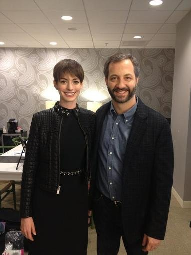 Judd Apatow continued his late-night interview circuit and ran into Anne Hathaway. Source: Twitter user JuddApatow