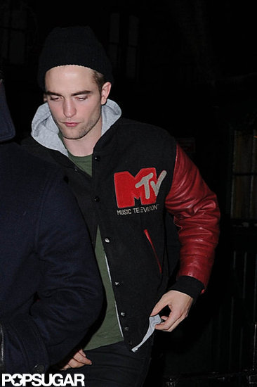 Robert Pattinson wore an MTV jacket and a beanie.