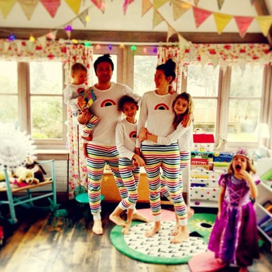 Jamie Oliver and his family posed in matching pajamas — except for one of his daughters, whose set was in the laundry. Source: Instagram user jamieoliver