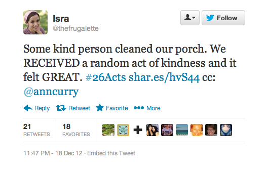 This person was surprised and moved be being a recipient of a kind act.