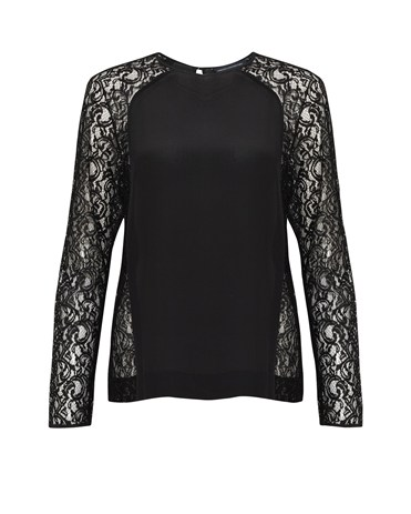 Lace is a feminine fabric and we adore that this French Connection black lace top ($100, originally $118) has a solid base but contrasting lace sleeves. Dress it up with a miniskirt and down with skinny jeans.