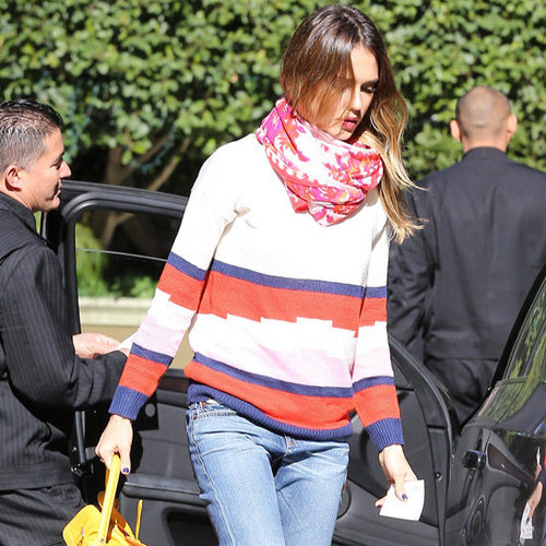 Jessica Alba Carrying Yellow Bag