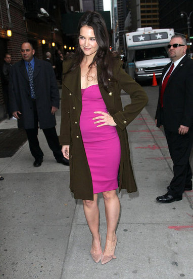Katie Holmes wore a hot pink dress.