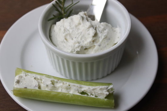 Goat cheese spread on celery