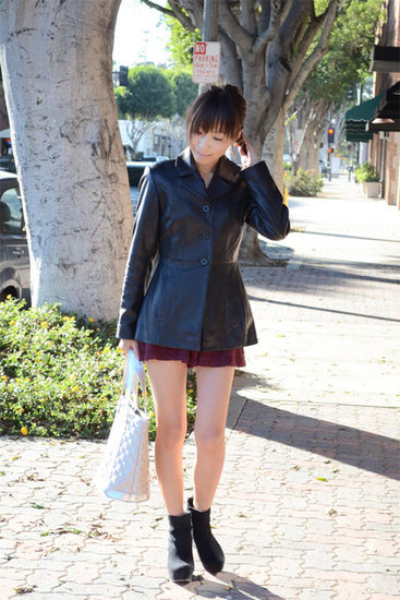 vintage leather jacket, f21 shorts, marc by marc jacobs bag