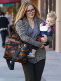 Hilary Duff walked with son Luca in Beverly Hills.