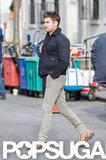Zac Efron walked around set in NYC.