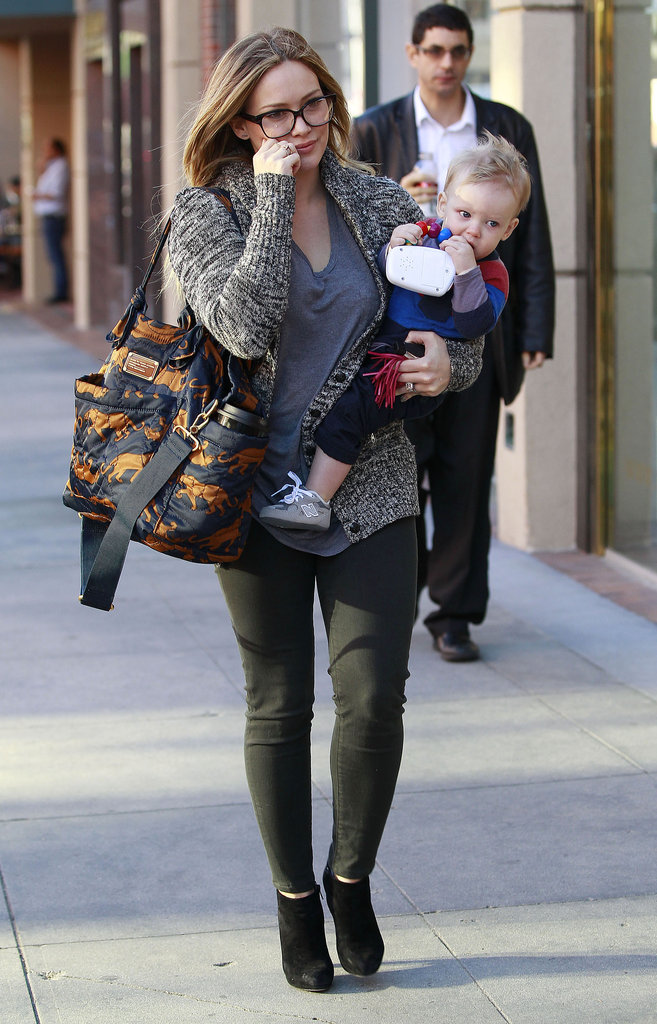 Hilary Duff Balances Baby Luca in Beverly Hills