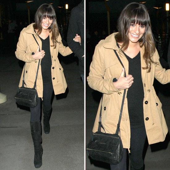 Need a little trench-coat inspiration? Lea Michele's khaki iteration certainly offers up a cool outerwear option.