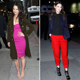 Katie Holmes Style Poll: Red Pants Or Pink Dress Outfit