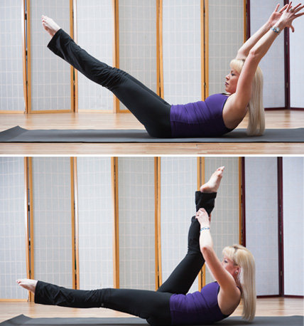 Double and Single Staight-Leg Stretches