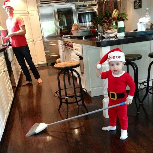Neil Patrick Harris revealed that he and husband David Burtka stayed up until 2 a.m. making their son Gideon's train set, but all he ended up wanting to play with was the broom. Source: Twitter user AcutallyNPH