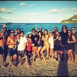 Alessandra Ambrosio posed with the crew after finishing a Victoria's Secret shoot in St. Barts. Source: Twitter user AngelAlessandra