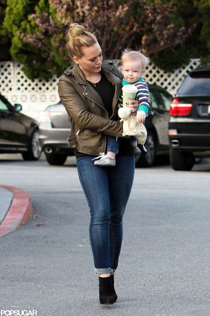 Hilary Duff balanced Luca Comrie and a coffee in LA.
