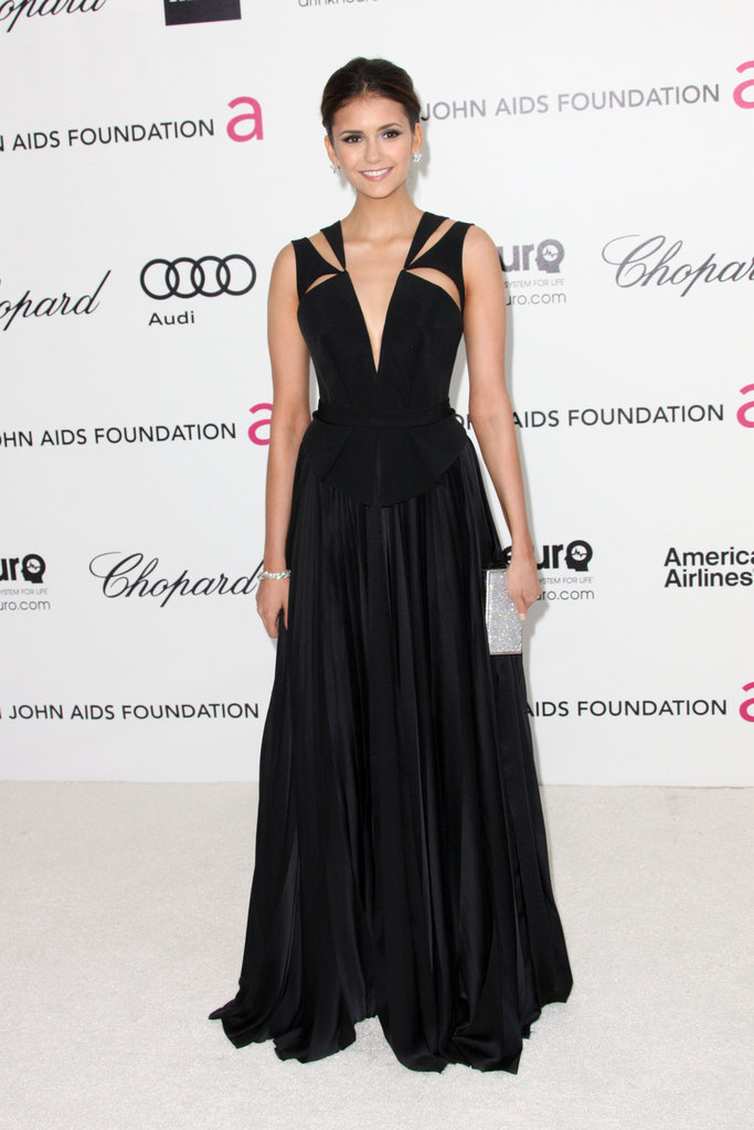 Nina defied expectations in this elegant J. Mendel gown at an Oscar viewing party.