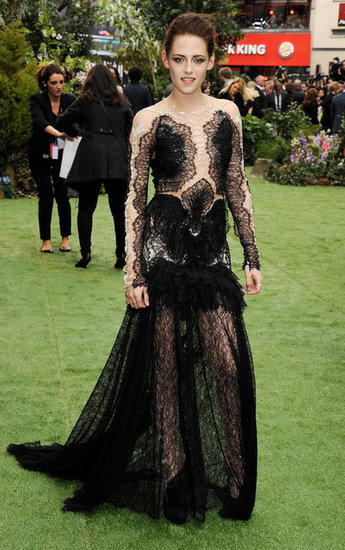 Kristen made a serious statement for the May premiere of Snow White and the Huntsman in London — she wore a gothic-inspired black lace Marchesa gown with a deceptively sheer bodice.