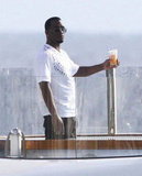 Diddy had a drink on his boat.