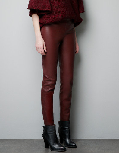 Round out your cold-weather wardrobe with Zara's cool bordeaux faux leather leggings ($60, originally $80).