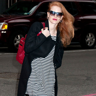 Jessica Chastain Wearing Striped Dress