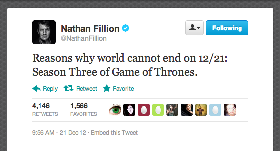 Actor Nathan Fillion is absolutely right: Winter is coming, and the show must go on.